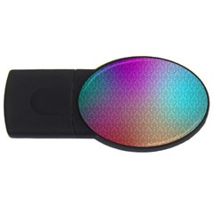 Blue And Pink Colors On A Pattern Usb Flash Drive Oval (2 Gb) by Amaryn4rt