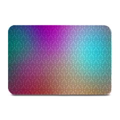Blue And Pink Colors On A Pattern Plate Mats by Amaryn4rt