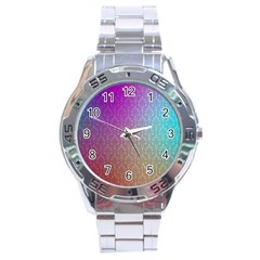 Blue And Pink Colors On A Pattern Stainless Steel Analogue Watch by Amaryn4rt