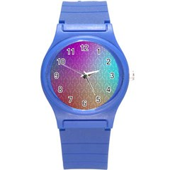 Blue And Pink Colors On A Pattern Round Plastic Sport Watch (s) by Amaryn4rt
