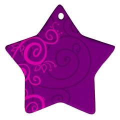Floraly Swirlish Purple Color Ornament (star)