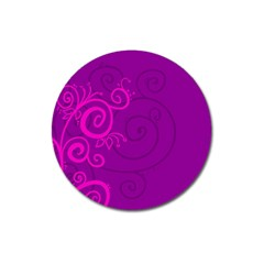 Floraly Swirlish Purple Color Magnet 3  (round) by Amaryn4rt