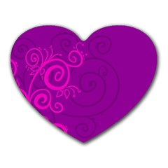 Floraly Swirlish Purple Color Heart Mousepads by Amaryn4rt