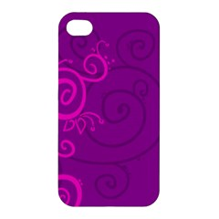 Floraly Swirlish Purple Color Apple Iphone 4/4s Premium Hardshell Case