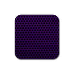 Dark Purple Metal Mesh With Round Holes Texture Rubber Coaster (square)  by Amaryn4rt