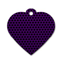 Dark Purple Metal Mesh With Round Holes Texture Dog Tag Heart (one Side) by Amaryn4rt