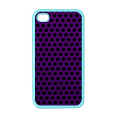 Dark Purple Metal Mesh With Round Holes Texture Apple Iphone 4 Case (color) by Amaryn4rt