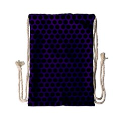 Dark Purple Metal Mesh With Round Holes Texture Drawstring Bag (small)