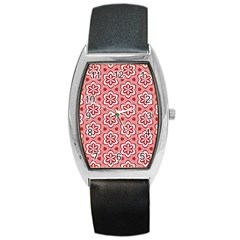 Floral Abstract Pattern Barrel Style Metal Watch by Amaryn4rt
