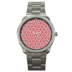 Floral Abstract Pattern Sport Metal Watch by Amaryn4rt