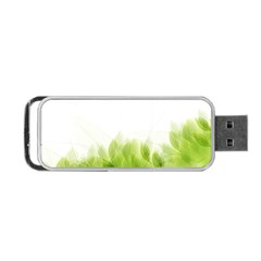 Green Leaves Pattern Portable Usb Flash (two Sides) by Amaryn4rt