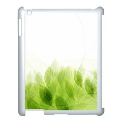 Green Leaves Pattern Apple Ipad 3/4 Case (white) by Amaryn4rt