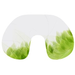 Green Leaves Pattern Travel Neck Pillows by Amaryn4rt