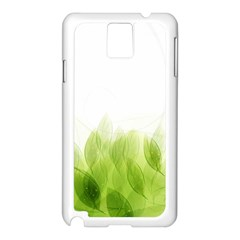 Green Leaves Pattern Samsung Galaxy Note 3 N9005 Case (white) by Amaryn4rt
