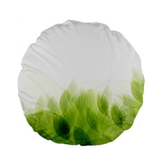 Green Leaves Pattern Standard 15  Premium Flano Round Cushions by Amaryn4rt