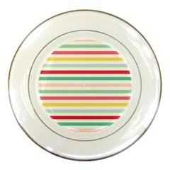 Papel De Envolver Hooray Circus Stripe Red Pink Dot Porcelain Plates by Amaryn4rt