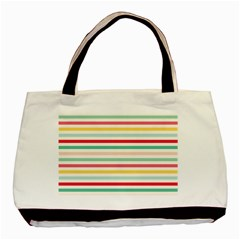 Papel De Envolver Hooray Circus Stripe Red Pink Dot Basic Tote Bag (two Sides) by Amaryn4rt