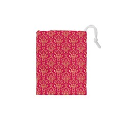Damask Background Gold Drawstring Pouches (xs)  by Amaryn4rt
