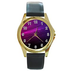 Purple Wallpaper Round Gold Metal Watch