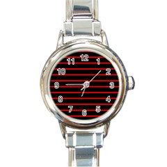 Red And Black Horizontal Lines And Stripes Seamless Tileable Round Italian Charm Watch