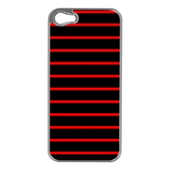Red And Black Horizontal Lines And Stripes Seamless Tileable Apple Iphone 5 Case (silver)