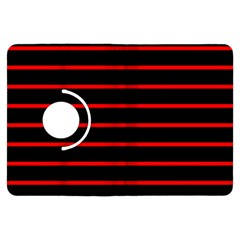 Red And Black Horizontal Lines And Stripes Seamless Tileable Kindle Fire Hdx Flip 360 Case by Amaryn4rt