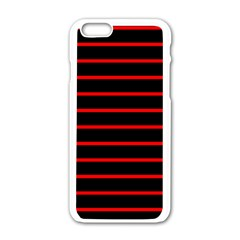 Red And Black Horizontal Lines And Stripes Seamless Tileable Apple Iphone 6/6s White Enamel Case by Amaryn4rt