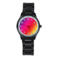 Rainbow Colors Stainless Steel Round Watch by Amaryn4rt