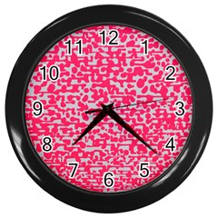 Template Deep Fluorescent Pink Wall Clocks (black) by Amaryn4rt