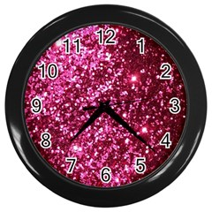 Pink Glitter Wall Clocks (black) by Amaryn4rt