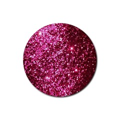 Pink Glitter Rubber Round Coaster (4 Pack)  by Amaryn4rt