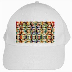 Retro Pattern Abstract White Cap by Amaryn4rt