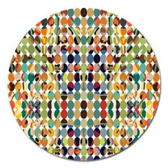 Retro Pattern Abstract Magnet 5  (round) by Amaryn4rt