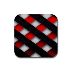 Red Textured Rubber Square Coaster (4 Pack)  by Amaryn4rt