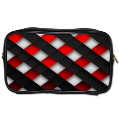 Red Textured Toiletries Bags 2 Side
