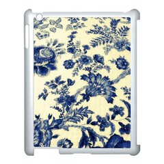 Vintage Blue Drawings On Fabric Apple Ipad 3/4 Case (white) by Amaryn4rt