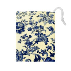 Vintage Blue Drawings On Fabric Drawstring Pouches (large)  by Amaryn4rt
