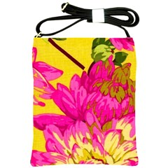 Beautiful Pink Flowers Shoulder Sling Bags by Brittlevirginclothing