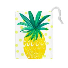 Cute Pineapple Drawstring Pouches (large)  by Brittlevirginclothing