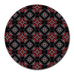 Abstract Black And Red Pattern Round Mousepads by Amaryn4rt