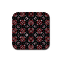 Abstract Black And Red Pattern Rubber Square Coaster (4 Pack)  by Amaryn4rt