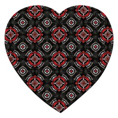 Abstract Black And Red Pattern Jigsaw Puzzle (heart) by Amaryn4rt