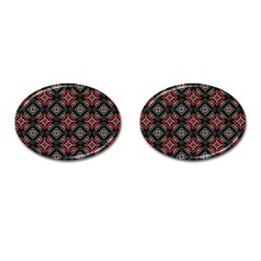 Abstract Black And Red Pattern Cufflinks (oval) by Amaryn4rt