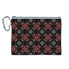 Abstract Black And Red Pattern Canvas Cosmetic Bag (l)
