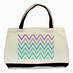Colorful Wavy Lines Basic Tote Bag (two Sides) by Brittlevirginclothing