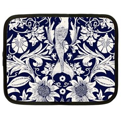 White Dark Blue Flowers Netbook Case (large) by Brittlevirginclothing