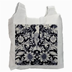 White Dark Blue Flowers Recycle Bag (one Side) by Brittlevirginclothing