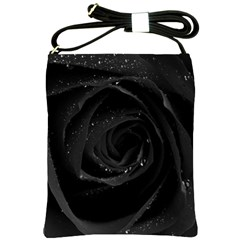Black Rose Shoulder Sling Bags by Brittlevirginclothing