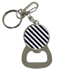 Stripes3 Black Marble & White Marble (r) Bottle Opener Key Chain by trendistuff