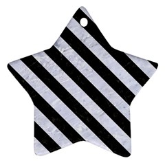 Stripes3 Black Marble & White Marble (r) Star Ornament (two Sides) by trendistuff